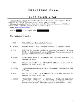 CV - Università degli Studi di Perugia