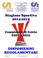 Regolamento di Campionato Calcio Giovanile CSI - Ed.2014-2015