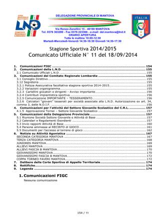 Comunicato Ufficiale N° 11 del 18/09/2014