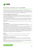 Privacy Policy ed informativa ex art. 13 D. Lgs.196/2003