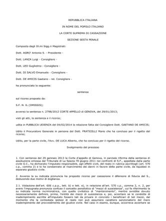 Cass. pen. Sez. VI, 9 aprile 2014 (ud. 04 febbraio 2014), n. 15898