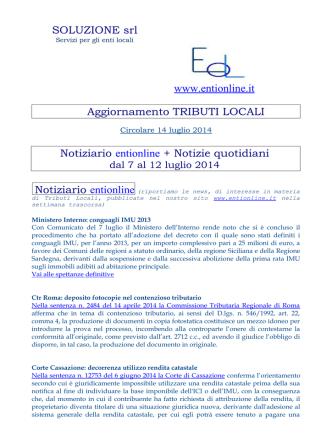 4BSOLUZIONE srl www.entionline.it Aggiornamento TRIBUTI