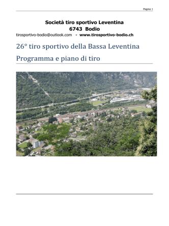 26° tiro sportivo della Bassa Leventina Programma e piano di tiro