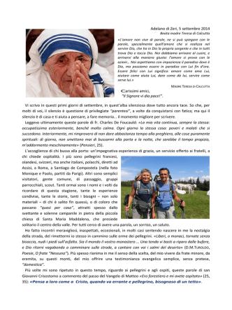 """Adelano di Zeri, 5 settembre 2014 Carissimi amici, """"Il Signore vi dia"""
