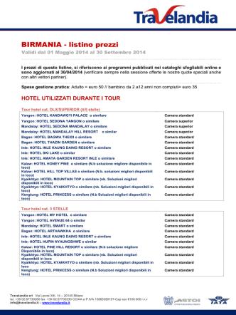 BIRMANIA - listino prezzi