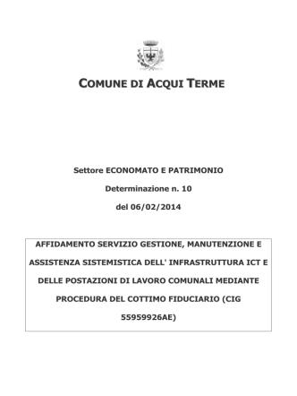Comune di Acqui Terme Settore ECONOMATO E PATRIMONIO
