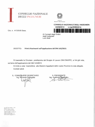 Circolare CNI 417 2014 - Ordine degli Ingegneri della provincia di
