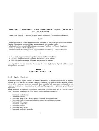 Contratto Provinciale di Lavoro Operai Agricoli della
