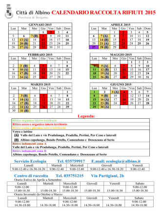 Calendario raccolta rifiuti - 2015