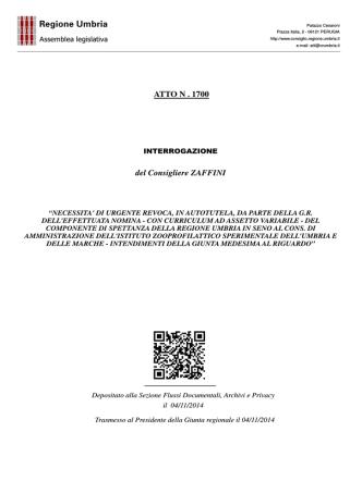 ATTO N . 1700 del Consigliere ZAFFINI