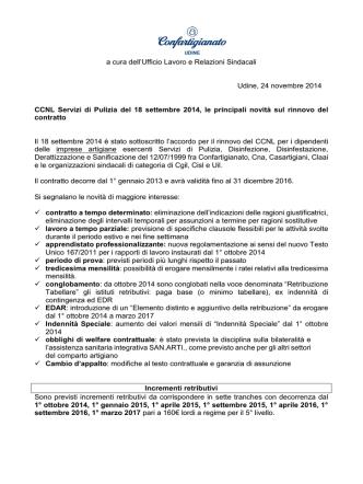 CCNL Servizi di Pulizia, 18 settembre 2014, principali novità su