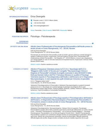 Curriculum Erica Deangelis