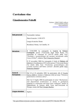 Curriculum vitae - Scienze - Università degli Studi Roma Tre
