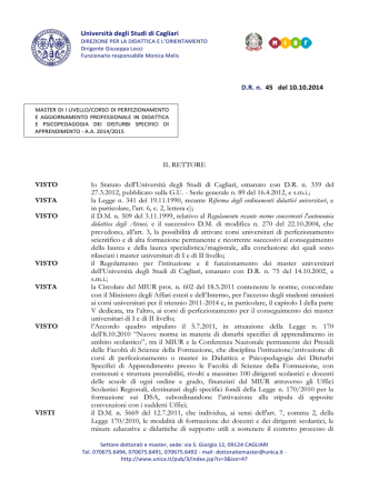bando - Università degli studi di Cagliari.