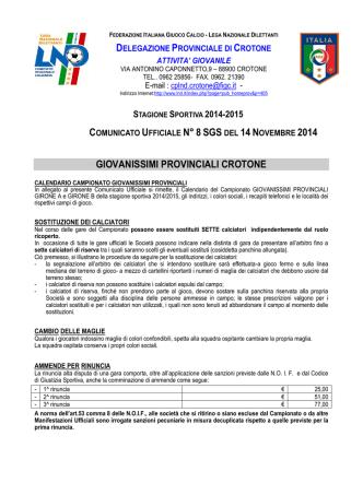 Calendario Giovanissimi provinciali 2014-2015