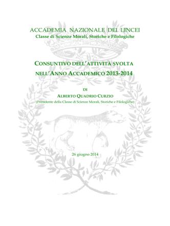 A.A. 2013-2014 - Accademia Nazionale dei Lincei