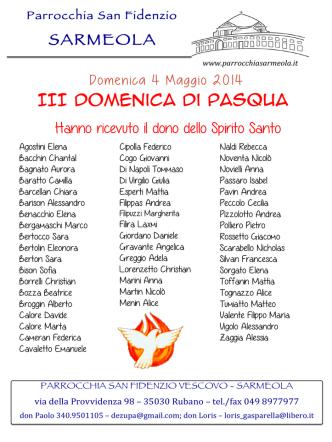 5 Maggio 2014 - Parrocchia San Fidenzio Sarmeola
