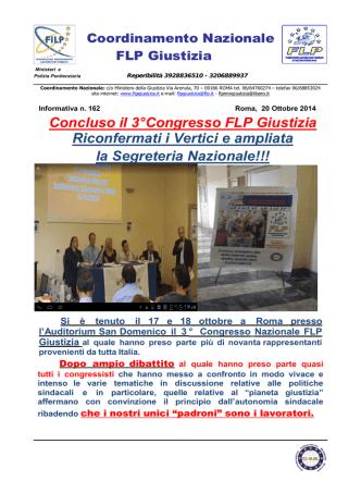 Concluso il 3°Congresso FLP Giustizia Riconfermati i Vertici e