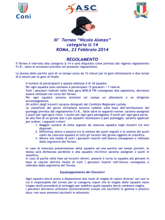 categoria U.14 ROMA, 23 Febbraio 2014 REGOLAMENTO