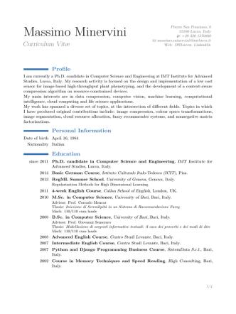 Curriculum Vitae - IMT Institute for Advanced Studies Lucca