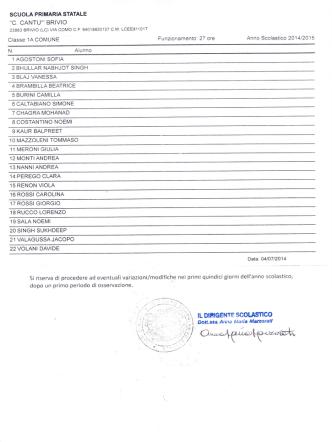 classi prime a.s. 2014-2015 - Istituto Comprensivo di Brivio (LC)