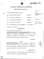 Corte di cassazione, sez, VI, ordinanza 27/10/2014, n. 22789