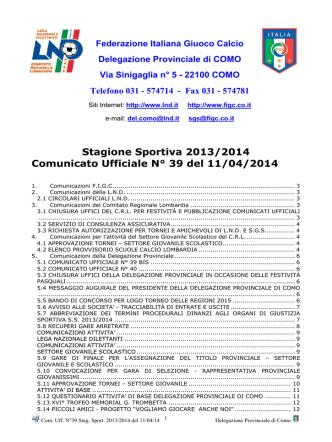 COMUNICATO n.39 del 11/04/2014