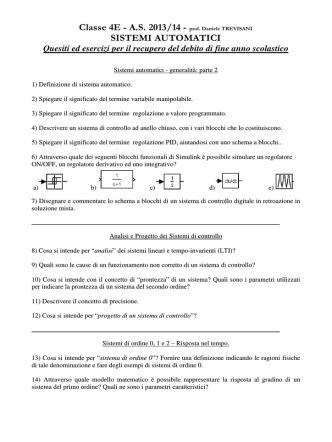 Classe 4E - A.S. 2013/14 - prof. Daniele TREVISANI SISTEMI
