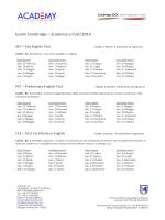 Cambridge Dates 2014 - Academy of English