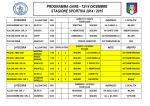 programma gare - 13/14 dicembre stagione sportiva 2014 / 2015