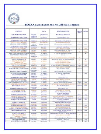 BOZZA CALENDARIO PRO-AM 2014 al 11 marzo