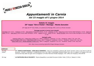 Appuntamenti in Carnia