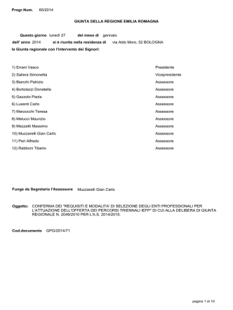 Delibera di GR n. 65 del 27/01/2014