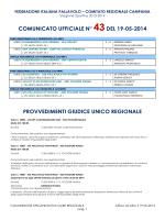 comunicato ufficiale n° 43del 19-05-2014