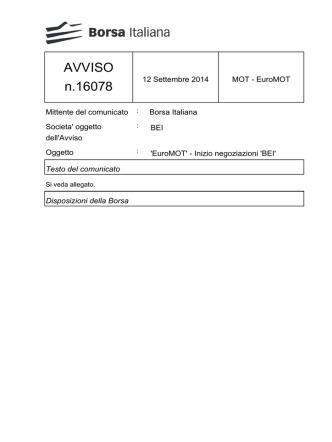 AVVISO n.16078 - Borsa Italiana