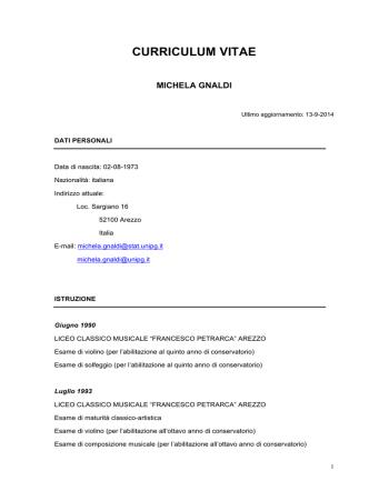 CV Gnaldi 13-9-14 - Dipartimento di Economia, Finanza e