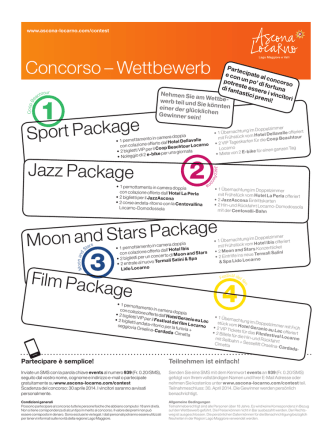 Concorso – Wettbewerb Sport Package Jazz Package Film Package