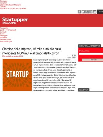 27 novembre 2014 – Giardino delle imprese – startupper.it