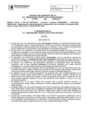 decreto del dirigente del - Portale Regionale degli Informagiovani
