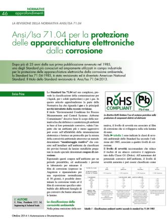 Ansi/Isa 71.04 per la protezione delle