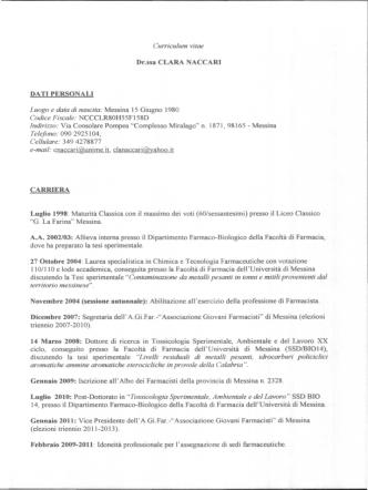 Curriculum vitae Dr.ssa CLARA ACCARI DATI PERSONALI Luogo e