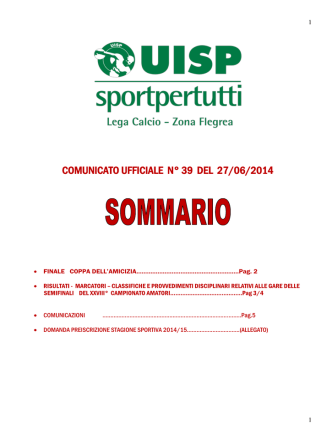 Comunicato n. 39 - UISP Zona Flegrea
