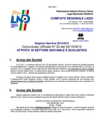 Comunicato Ufficiale N° 23 del 03/10/2014