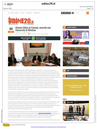 Ateneo Udine in Canada, accordo con Università di Windsor   Udine