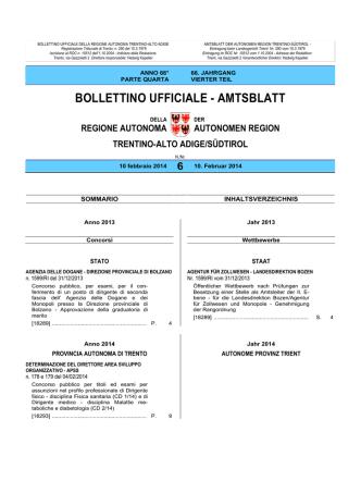 Bollettino n. 6 del 10 febbraio 2014
