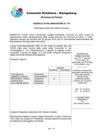 delibera n. 119 - concessione proroga FUT Comune di Lav…