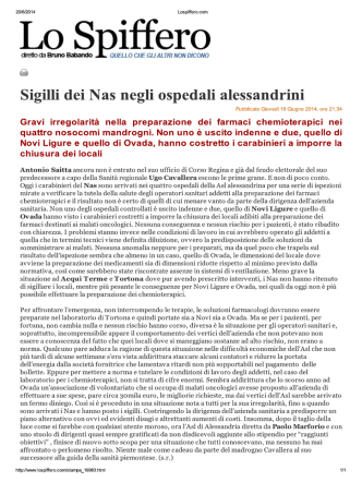 ALESSANDRIA Sigilli dei Nas negli ospedali alessandrini (Lo Spiffero)