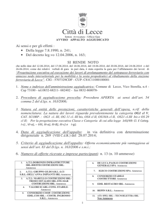 Comune di Lecce - Regione Puglia