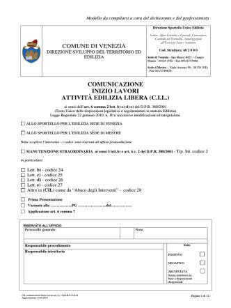 CIL comunicazione Inizio Lavori art. 6 c. 2 lett.B-C-D-E
