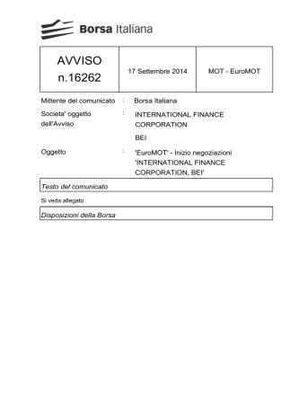 AVVISO n.16262 - Borsa Italiana
